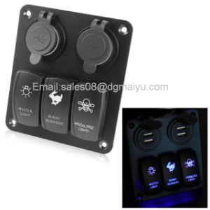 Waterproof 3 Gang Car Switch Panel LED Rocker with 2 USB Socket Cigaretter Plug for Marine/Boat/RV 12V pictures & photos