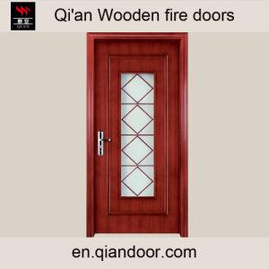Teak Veneer Wooden Interior Door with Glass pictures & photos