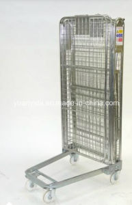 Folding and Stackable Wire Mesh Roll Container Roll Pallet Roll Cage with Wheels pictures & photos