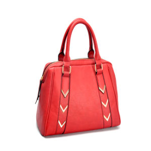 Red Ladies PU Leather Handbag with Golden Harware