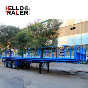 Flatbed Container Loading Tipper Trailer 3 Axle Shandong Helloo Trailer Brand pictures & photos