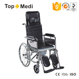 Topmedi Reclining High Back Steel Commode Wheelchair with Headrest pictures & photos