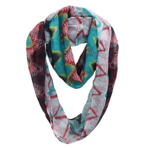 Lady Fashion Grid Printed Polyester Chiffon Summer Infinity Scarf (YKY1105) pictures & photos