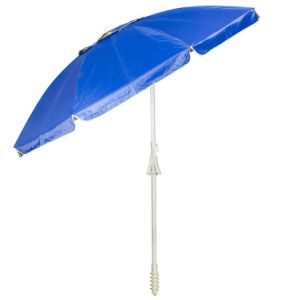 Outdoor Beach Wind Vent Umbrella 7FT Certified by TUV UV Protection Upf 50+ Built-in Anchor Pole and Air Vent for Stability (Dark Blue)