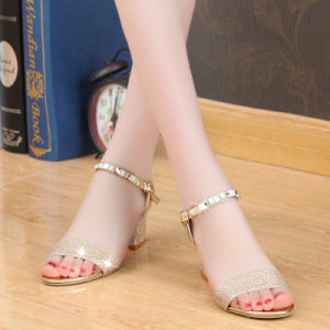Big Size Shoes Spring and Summer New Style Rough Heel Slope with Diamond Sandals Women Leisure Female Sandals Wholesale pictures & photos