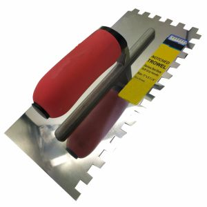 """Square Tooth Stainless Steel Trowel 10*10 Square Notched 11""""5-1/4"""" with Soft Red Handle FT79 pictures & photos"""