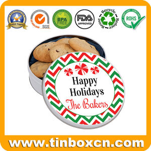 Round Biscuit Tin Can Cookie Metal Box with Food Grade pictures & photos