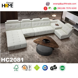 Popular Living Room Modern Furniture Top Grain Leather Sofa Set (HC3010) pictures & photos