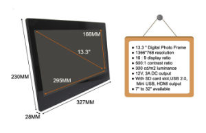 High Quality Latest Slim 12V Digital Photo Frame 13 Inch with Adapter (MW-1332DPF) pictures & photos