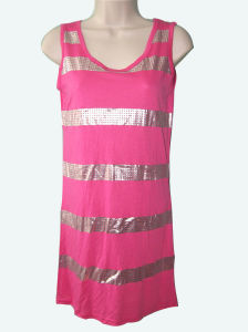 Womens Sleeveless Striped Sequins Print Pink Tank Top Dress/Sweatshirt Dress pictures & photos