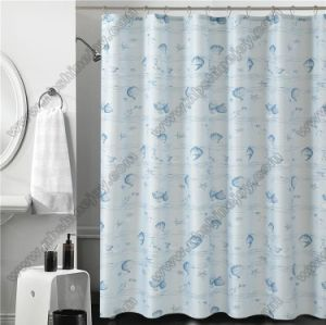 PVC Waterproof Shower Curtain with Hooks pictures & photos