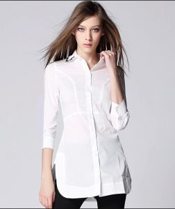 Fashion Design Ladies Long Sleeve Stand Collar White Women′s Blouse pictures & photos
