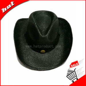 Black Paper Straw Cowboy Promotional Straw Hat pictures & photos