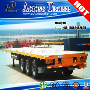Aotong Brand 40FT Container Flatbed Semi Trailer with Single Tyre pictures & photos