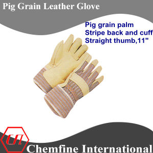 Full Palm, Rubberized Cuff, Pig Grain Leather Work Gloves pictures & photos