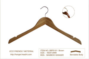 Eco Friendly Bamboo Wood Clothes Shirt Hangers pictures & photos