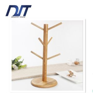 Tree Shape Wood Mug Cup Shelf with Round Coaster pictures & photos