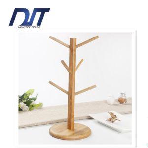 Tree Shape Wood Mug Cup Shelf with Round Coaster