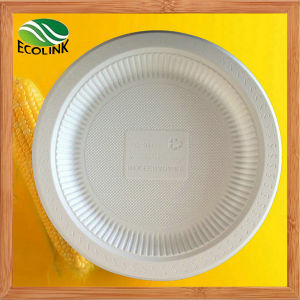 10 Inch Disposable Biodegradable Cornstarch Plate pictures & photos