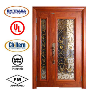 Double Steel Security Entrance Door for Villa Project/Garden Door/ Steel Glass Door/Villa Door