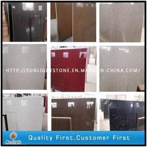 Artificial Solid Surface Engineered Multicolor Quartz Stone Slabs pictures & photos