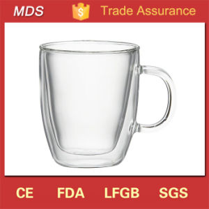 Handmade Borosilicate Double Wall Glass Coffee Mugs with Handle pictures & photos