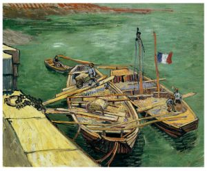 Famous Artists Oil Painting, Art Painting, Masterpiece Oil Painting, Quay with Men Unloading Sand Barges (1888 years) -Vincent Van Gogh pictures & photos