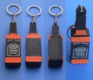 Cheaper Soft PVC Keyring with 3D Logo, 3D Silicone Bottle Key Chains pictures & photos