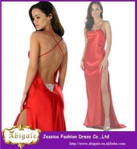 2014 New Arrival Red Satin Side Slit Sexy Backless Prom Dress with Crystals (YC025)