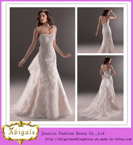 2014 New Arrival Mermaid Champage Sweetheart Open Back Detachable Skirt Corset Two-Piece Wedding Gown (MN1036)