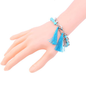 European and American Simple Elegant Two-Layered Beaded Tassel Bracelet for Women pictures & photos