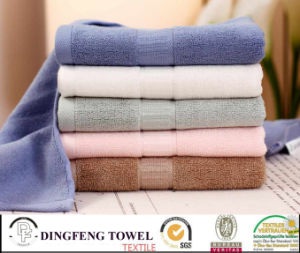 Nature Organic Solid Color Satin Boarder Bamboo Bath Towel pictures & photos