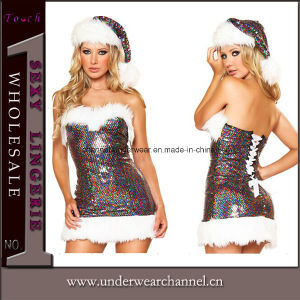 Sexy Sequin Naughty Santa Velvet Adult Christmas Dress (7231) pictures & photos