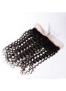 13X4 Deep Curly Virgin Raw Human Hair Frontal Pieces 8A Unprocessed Lace Frontal with Baby Hair Bleached Knots