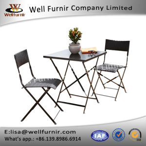 Well Furnir T-016 PE Weave Rattan Effect Foldable Bistro Set pictures & photos