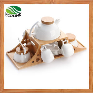 Ceramic Coffee Set with Bamboo Stand pictures & photos