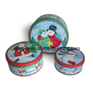 Cake Tin Set of 3 Metal Tin Boxes for Candy, Cake Tin Box Set, Pantry Design Set of 3 Cake Tins for Christmas Gift (XJ-017Y)