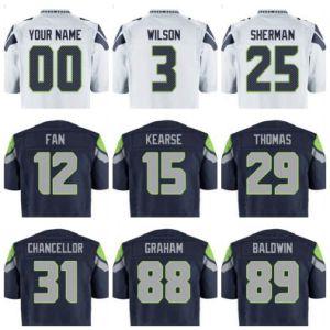 Seattle Football Jersey Custom Regular Wilson Sherman Thomas Chancellor Smith Blue White Grey Green Man Lady Kids Clothes Tees