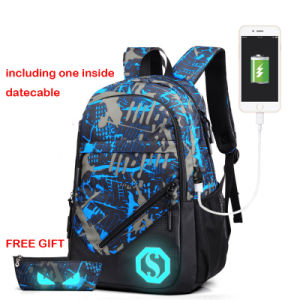 Luminous Backpack with USB Port and One Pencil Case pictures & photos
