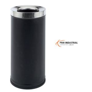 Black Powder Coated Steel Circle Open Top Waste Bin pictures & photos