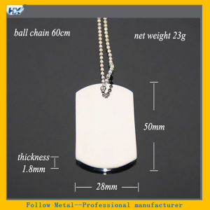 60cm 24 Inches Ball Chain Necklace High Polished Stainless Steel Name Military Metal Tag Dog Tag pictures & photos