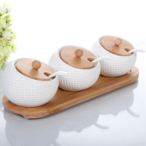 Ceramic Salt Jar Spice Canister Bamboo Lid pictures & photos