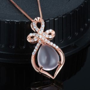 925 Sterling Silver Pendant Necklace Stone Lotus Pink Crystal Exquisite and Elegant Jewelry pictures & photos
