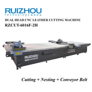 Automatic CNC Leather Cutting Machine with Two Heads and Conveyor Belt pictures & photos