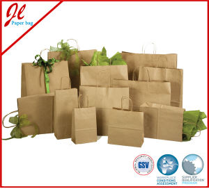 2pk Eco Solid Kraft Paper Bags Brown Kraft Gift Bags with Yellow Twisted Handle pictures & photos