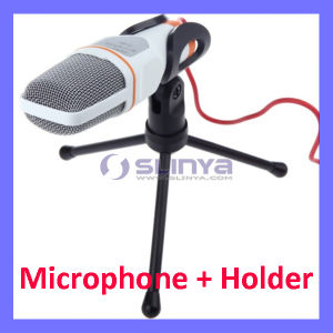 Mic Wired Condenser Microphone with Holder Clip for Chatting Singing Karaoke PC Laptop pictures & photos