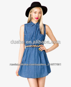 China Manufacturer U′sake Sleeveless Button up Blue Denim Jean Skirt Dress S20278