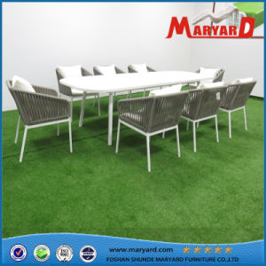 Restaurant Patio Rope Weaving Aluminum Dining Table and Chairs pictures & photos