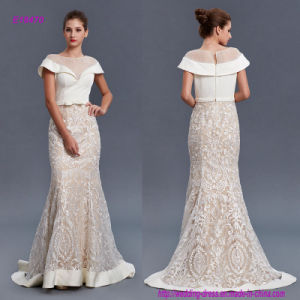 Noble and Modern Style Transparent Lace Evening Dress with Bow on Waistband pictures & photos
