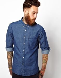Long Sleeve Mens Denim Shirt with Custom Brand Label pictures & photos